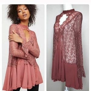 💋Free People Lace Tunic Dusty Rose